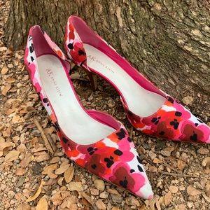 Anne Klein kitten heels in red flower print